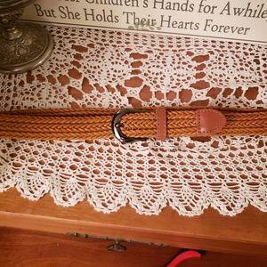Accessories - Leather woven belt Camel / cognac brown